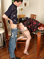 Lewd gay sissy in plain top stockings getting his burning rear plowed hard