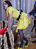 Shy sissy in glasses gets his yellow dress hiked up for all-male bumming