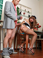 Lusty sissy in a French maid uniform milks a gay guy with his mouth and ass