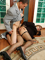 Sizzling hot sissy in a business suit and fishnet stockings opening his ass