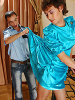 Horny sissy in a satin dress seducing a policeman into suck-n-fuck action