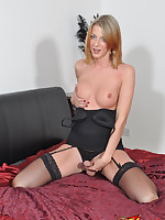 Sexy Sammi Valentine is showing off her hard cock and perky tits.