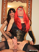 Red haired Zoe sucking on some hard crossdresser cock
