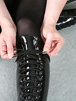 Lucimay wearing Fuck Me Boots and getting all tied up