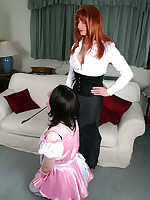 Tgirl Lucimay spanks her naughty tranny maid