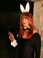 Lucimay puts on her bunny outfit and smokes suductivly
