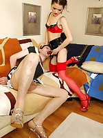 Filthy sissy guy getting under fierce anal onslaught by strap-on armed gal