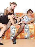 Strap-on armed babes fulfilling their dirty dreams to poke sissy guy in FFM