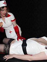 Slutty TGirl Kirsty is dressed as a nurse and having some sexy with with a horny FemDom