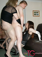 Kirsty and crossdresser friend sucking lots of dick