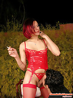 Freaky shemale in red nylons making her guy suck her cock and fucking him